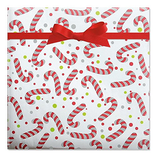 Candy Canes Foil Rolled Gift Wrap - 38 sq. ft. metallic wrap (Candy Foil Roll)