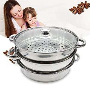 Steamer Set Stainless Steel 3 Tier Steamer Pot Steaming Cookware