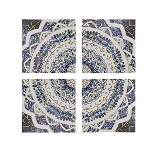 Madison Park Boho Medallion Wall Art - Gel Coated Canvas Modern Bohemian Design Stretched 4 Piece Set Painting Living Room Décor, - Art Oversized Iv Canvas