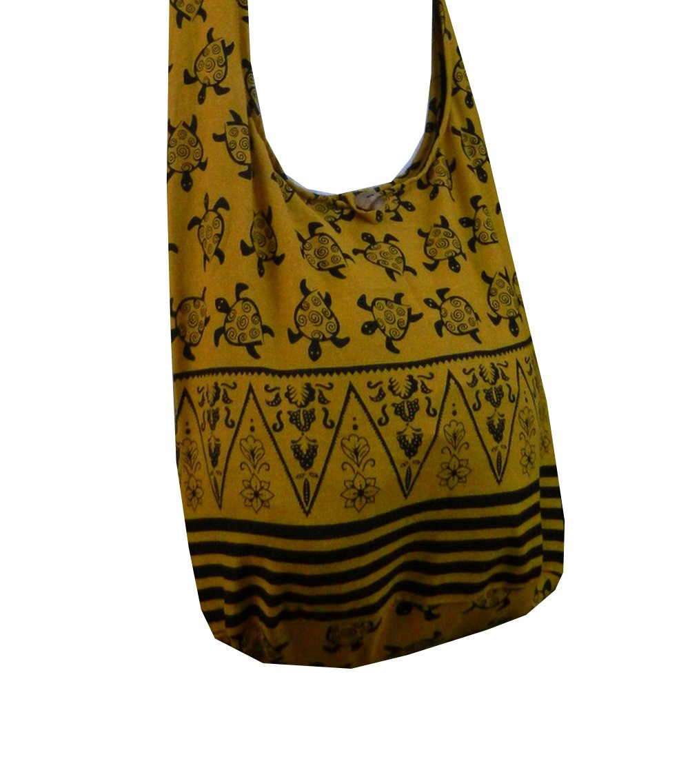 BTP! Turtle Sling Crossbody Shoulder Bag Purse Hippie Hobo Thai Cotton Gypsy Bohemian Large (Mustard OW15)