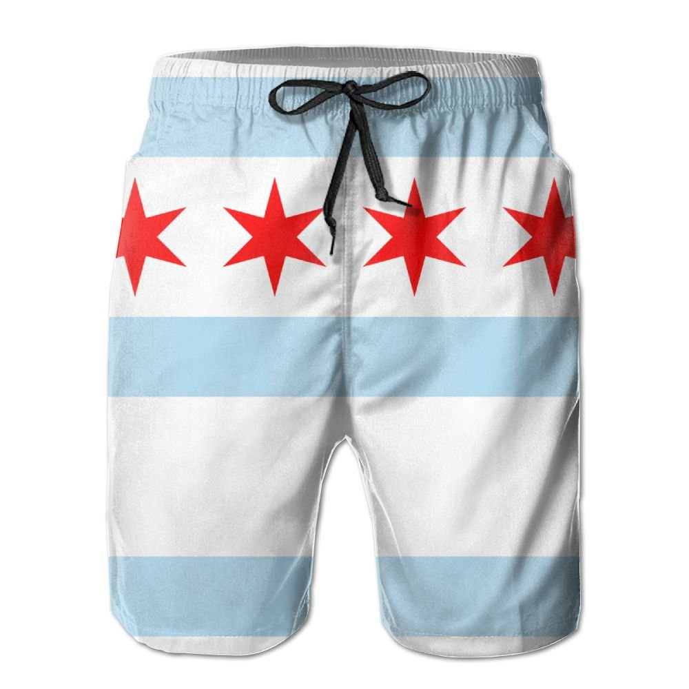 LXP FZD Flag of Chicago Men Swim Trunks Funny Surf Board Shorts Beach Pant Sportswear