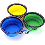 Zicome 3 Pack Collapsible Silicone Dog Bowls, Foldable Expandable Cup Dish for Pet Dog/Cat Food Water Feeding Portable Travel camping Bowl (Blue, Green, Yellow)