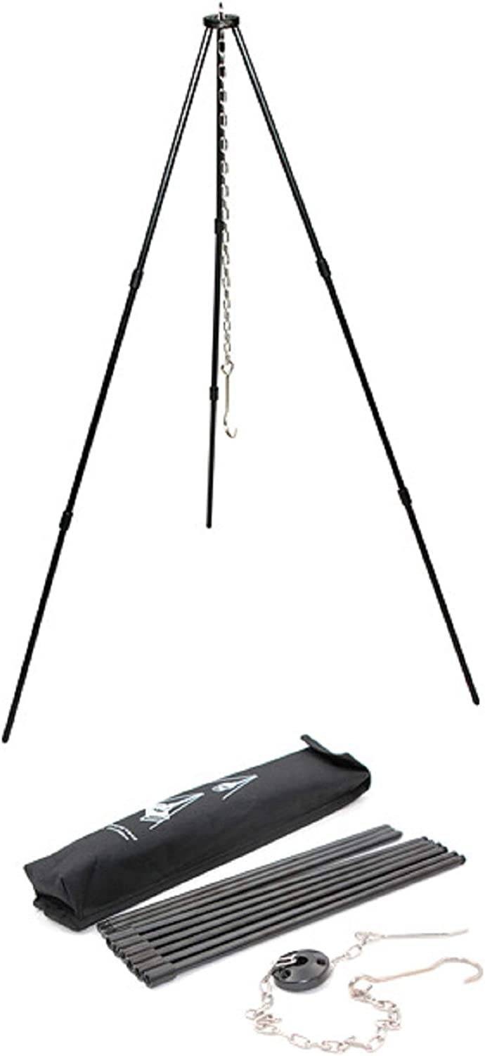 SEMPIYI Portable Outdoor Mini Camping BBQ Cooking Tripod, Aluminum Alloy, Detachable Bracket, Adjustable Hanging Chain, Suitable for Camping, Barbecue.