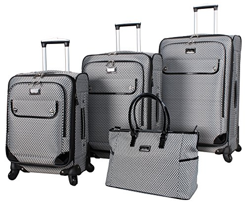 Nicole Miller New York Kristina Collection 4-Piece Expandable Spinner Luggage Set: 28'', 24'', 20'', and Shopper (Silver) by Nicole Miller New York