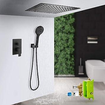ducha empotrada negro en el techo, sistema set de ducha empotrado ...