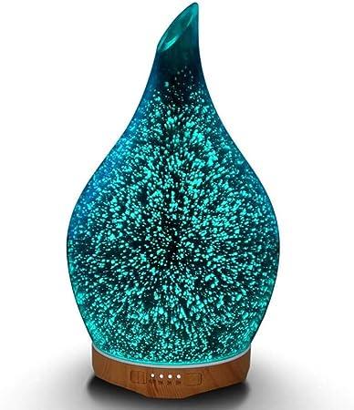 Difusor de Aceites Esenciales Aromaterapia 280ml Humidificador Vapor Frío Ultrasónico Purificador de Aire Efecto 3D Luz LED de 7 Colores 4 Temporizador Silencioso ...