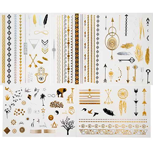 GIFT!!! Tastto 5 Sheets Metallic Temporary Tattoos for Women & Girls, Over 85+ Tattoos with GIFT (Tribal Print Tattoos)