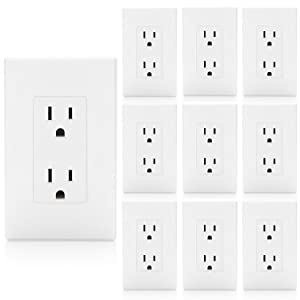 [10 Pack] BESTTEN 15A Decor Receptacle, Standard Duplex Electrical Wall Outlet, Decorative Wall Plates Included, Self Grounding, Residential and Commercial Grade, UL Listed, White
