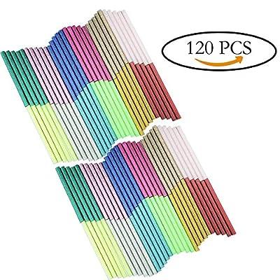 Multicolored Hot Glue Gun Sticks Glitter Bling-bling Hot Melt Glue Sticks Mini 7 mm X 100 mm 120PCS with 12 Colors for DIY Art Craft/PDR - By Huaing