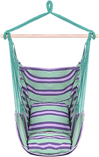 Swing Hanging Chair, Rope Hammock Chair Swing Seat for Any Indoor or Outdoor Spaces Two Seat Cushions Included