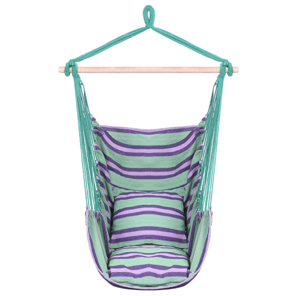Teeker Cotton Hanging Rope Hammock Distinctive Cotton Canvas Hanging Rope Chair with Pillows Green