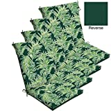 Comfort Classics Inc. Set of 4 Outdoor Dining Chair Cushions 20''x 44''x 3.5''T; H-24 in Polyester Fabric Emerald Quintana Tropical by