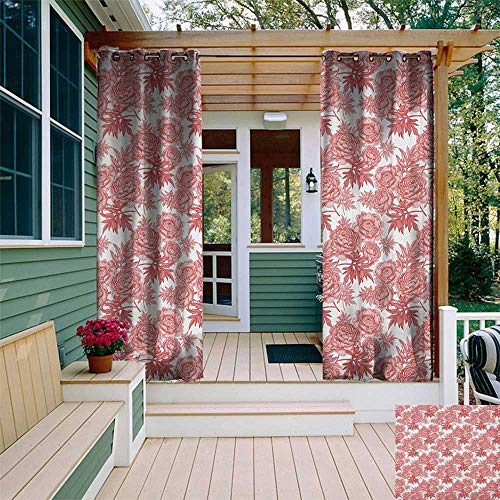 leinuoyi Victorian, Outdoor Curtain Set, Vibrant Vivid Color Garden Flower and Peonies Bouquet Image Old England Style, for Gazebo W108 x L108 Inch White Red