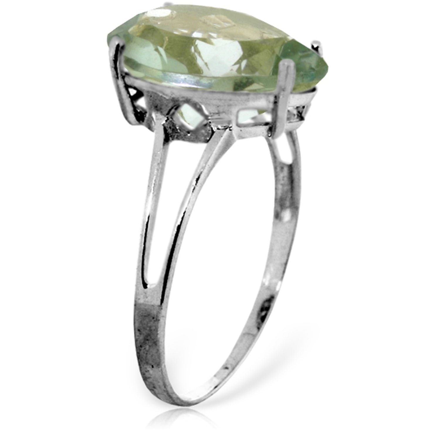 ALARRI 5 Carat 14K Solid White Gold Love Is A Verb Green Amethyst Ring Ring Size 7.5 by ALARRI (Image #1)