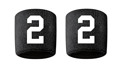 Amazon.com   2 Embroidered Stitched Sweatband Wristband BLACK Sweat ... 1e81aedffb1