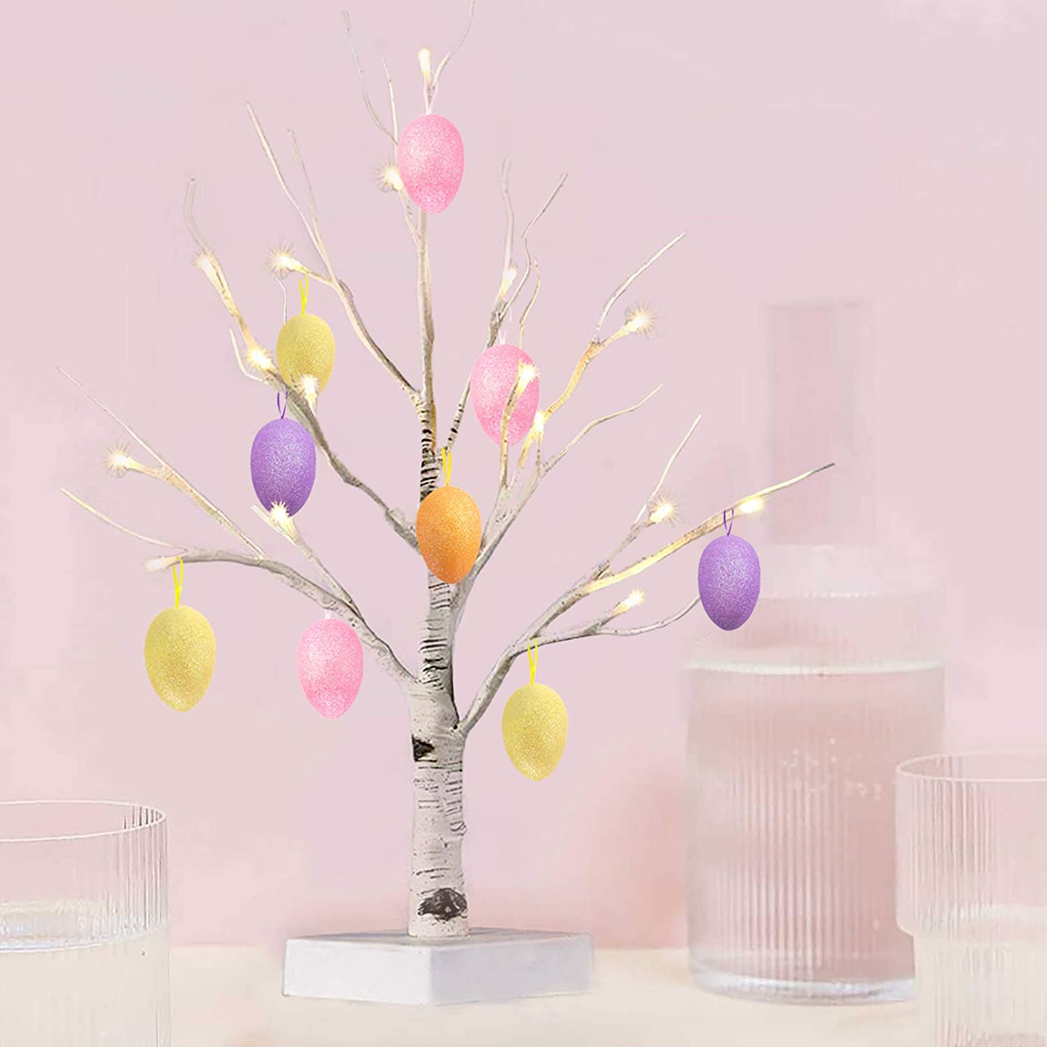 Easter Decorations Egg Tree 24inch White Lighted Birch Tree with Set of 12 Hanging Easter Glitter Egg Ornaments for Party Birthday Home Decor