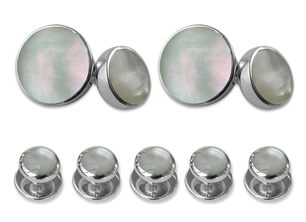 Sterling silver mother of pearl double-sided Cufflinks Shirt Dress Studs Gift Set
