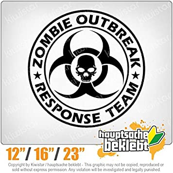 Decal Sticker Bumper Rear Window Vinyl Motorcycle Available in 3 Sizes 15 Colors Zombie Outbreak Skull Neon Chrome