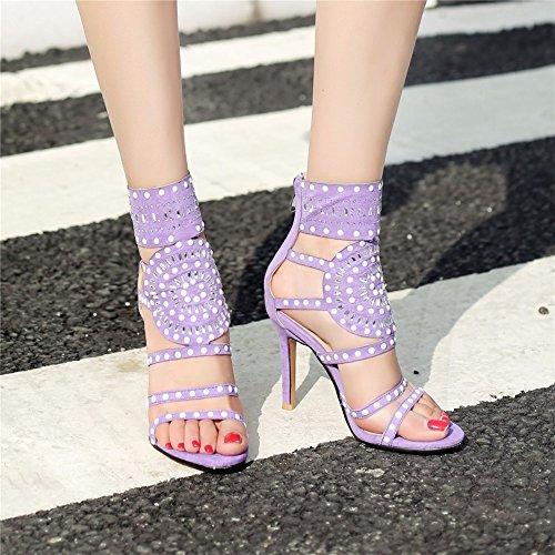 Top B Purple Donna Rivetti Tacchi Stiletto da Sandali High Romane Donna Large Scarpe Black Scarpe New Fashion Brown Size Alti Estate UgY5R