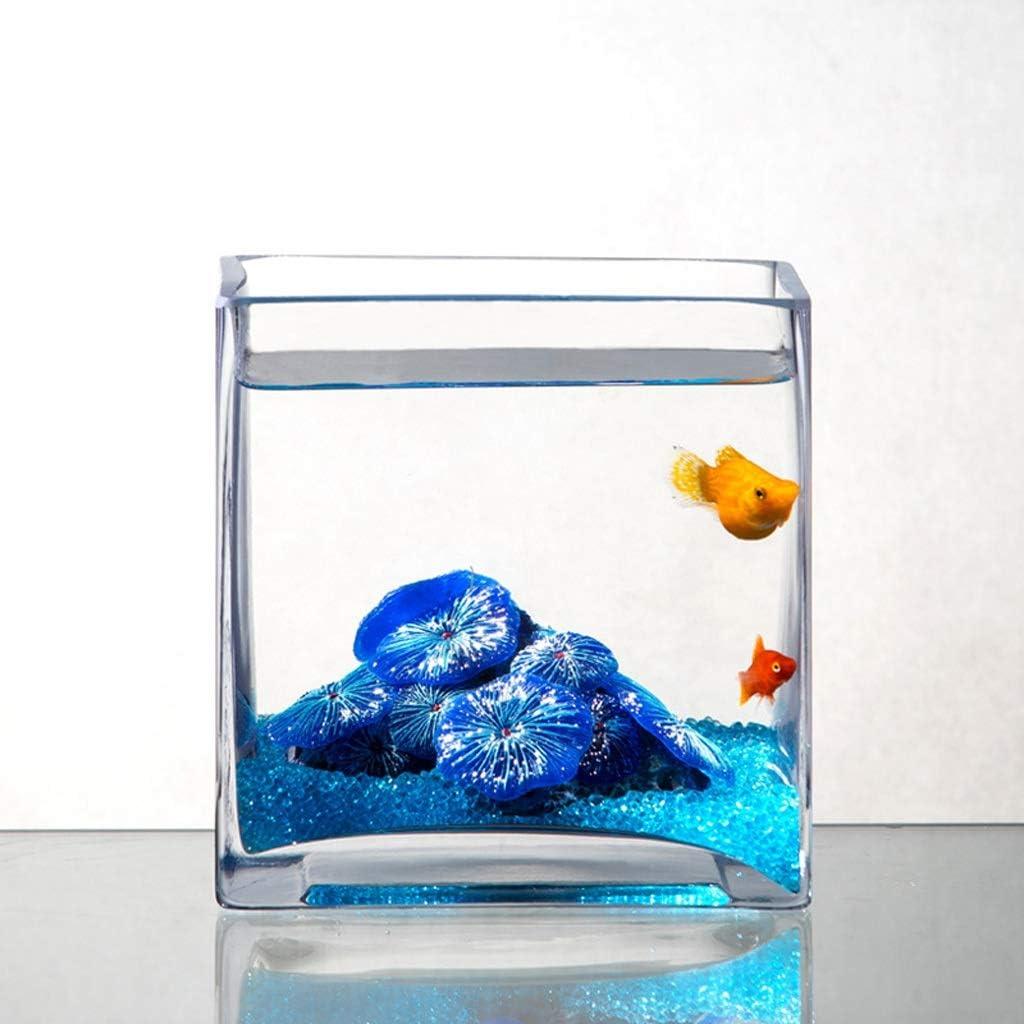 Xuejuanshop/—Peceras Personalidad Creativa Cuadrado Acuario Acuario de los Peces de Vidrio Sala de Estar de Escritorio Tortuga Tanque Acuario Decoraci/ón tama/ño : S