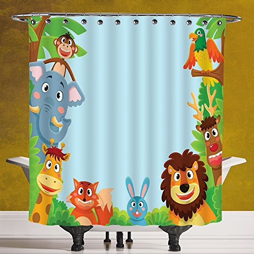 Unique Shower Curtain 3.0 by SCOCICI [ Kids,Cute Jungle Cartoon Animals Parrot Bird Bunny Fox Giraffe Monkey Deer Antler Lion Art Print Decorative, ] Machine Washable,Shower Hooks are Included