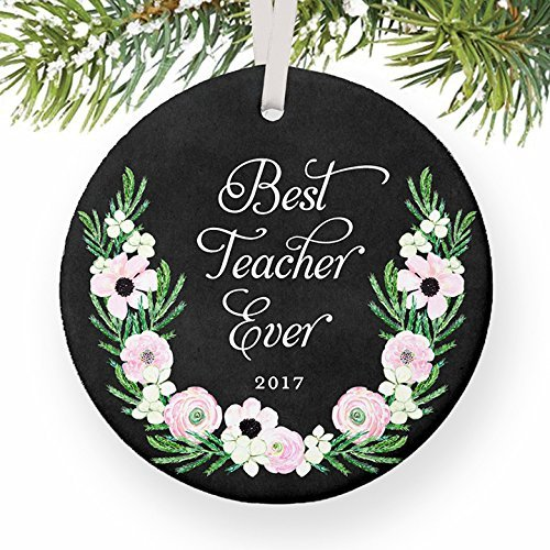 Christmas Tree Ornaments Teacher Gifts Best Teacher Ever From Student Child Boy or Girl Favorite Professor TA School Assistant Present Craft Ornament Gift Ideas Holiday Anniversary Keepsake