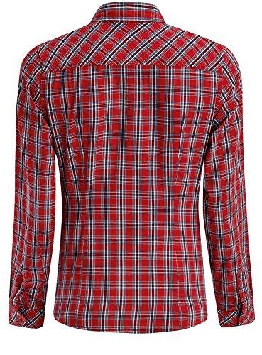 oodji Ultra Mujer Camisa a Cuadros de Algodón Rojo (4575C)