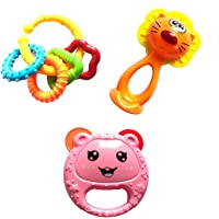 3 PCS Set Baby Time Colourful Rattle Toys for Toddler Based on Theme of Sound Shaking for Baby/Toddler/Infant/Child -JH-16305B