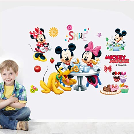 kibi adesivi Muro Minnie Disney Adesivi Muro Mickey Mouse Adesivo Da Parete Minnie Camera Da Letto Bambini Stickers Muro Bambini Mickey Mouse Casa e cucina Decorazioni per interni