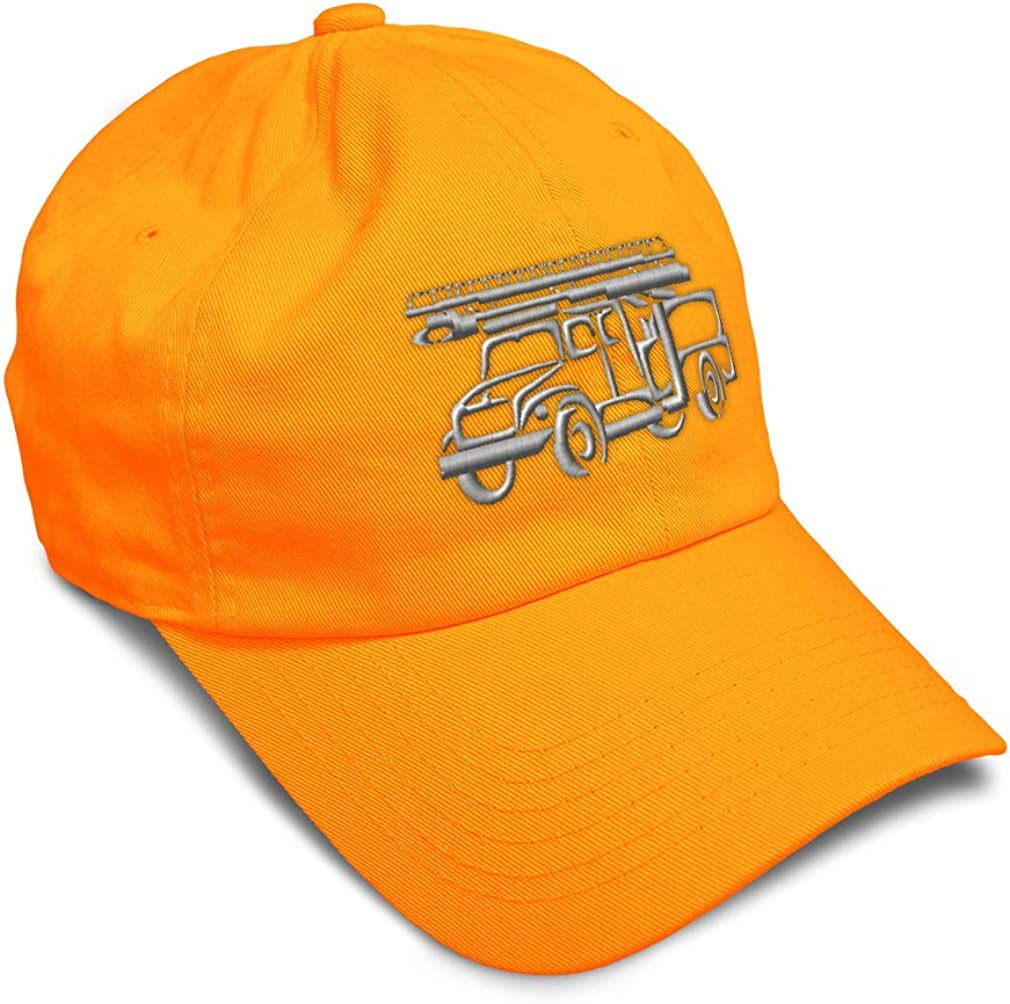 Custom Soft Baseball Cap Fire Engine Outline Embroidery Dad Hats for Men /& Women