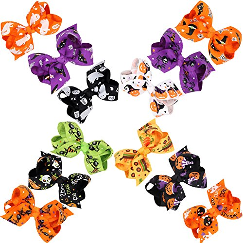 CeeDeek Baby Girl's Barrette Colorful Hairpin Boutique Hair Bow Clips Packs of 12 (Halloween-3.15''x1.57'') -