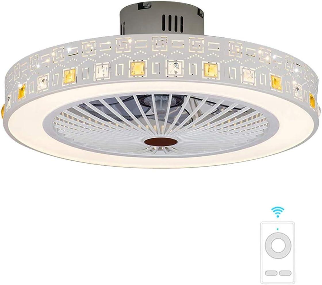 FYH LXN Invisibles Ventilador de Techo lámpara Ventilador de Techo, LED con Control Remoto lámpara Moderna Sala de Estar, Simple Techo Techo Creativo, Blanco - diámetro 56 cm,White