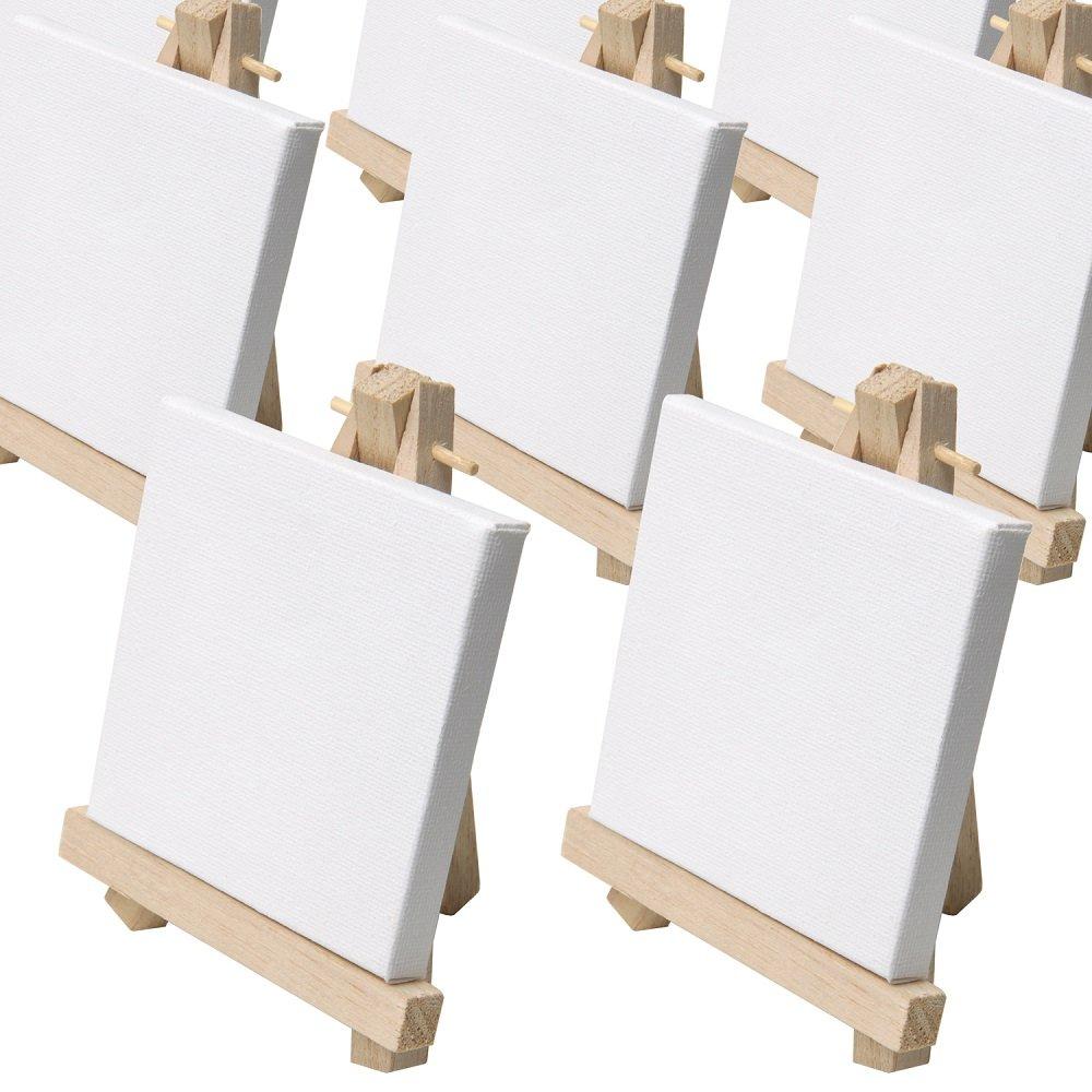 Artina - Lot DE 50 Mini Chevalet de Table 9x11cm + Toiles 8x8cm - Idéal pour Mariage, Banquet, Marque Place, Présentoir