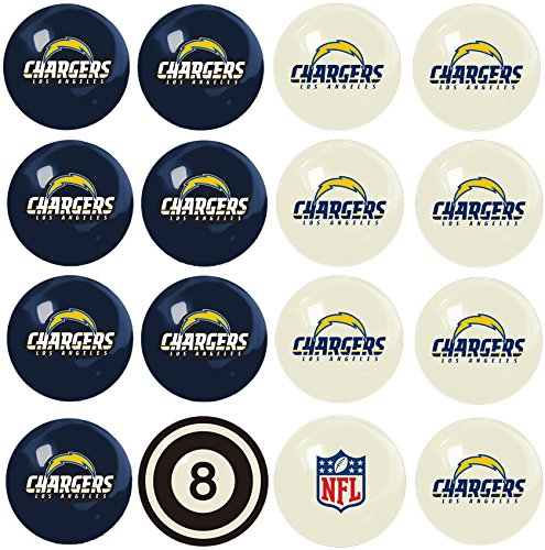 Imperial Officially Licensed NFL Merchandise: Home vs. Away Billiard/Pool Balls, Complete 16 Ball Set, Los Angeles Chargers by Imperial