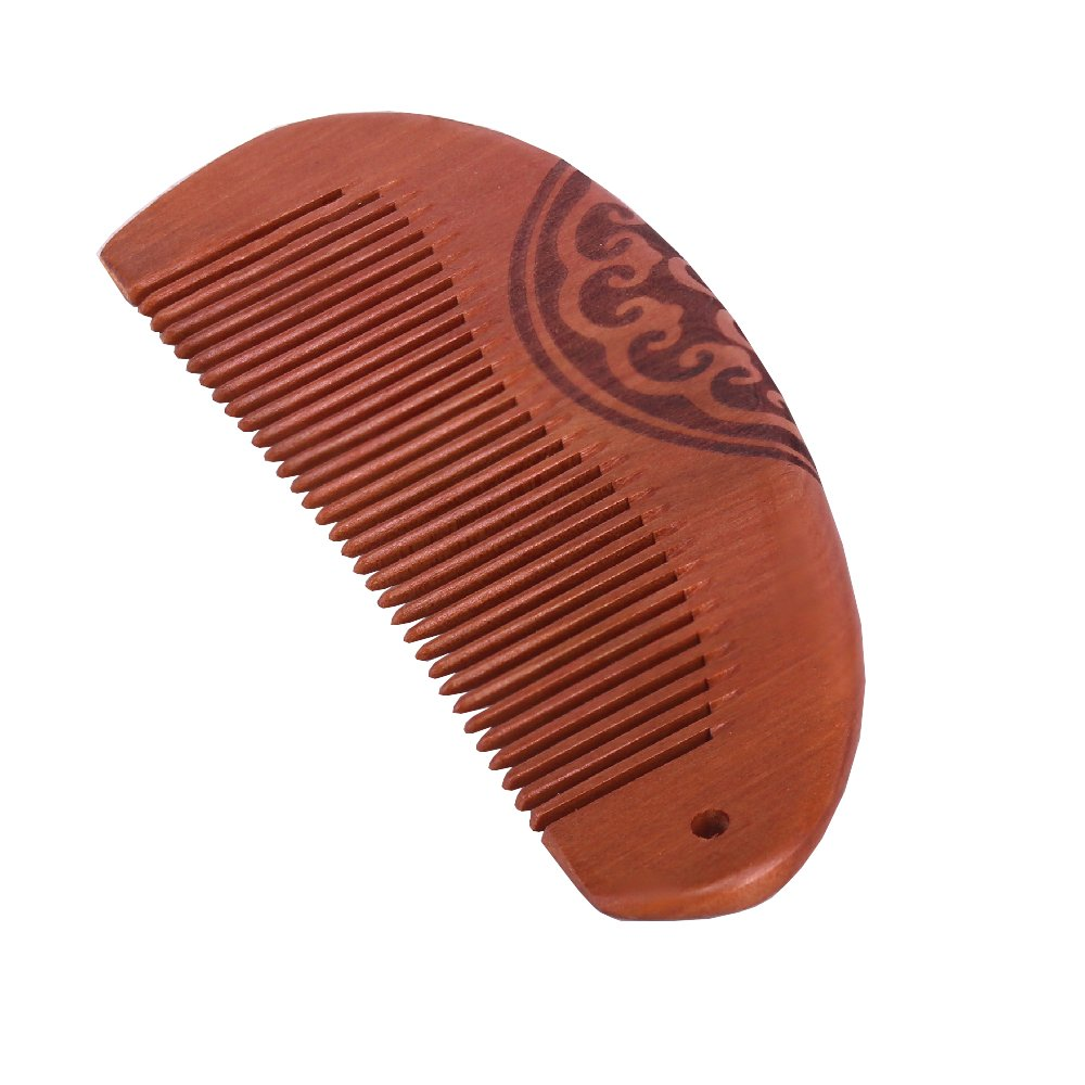 Molshine Hair Wood Combs Natural peach wood ,carved pattern ,No Static (A)