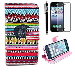LETOiNG-8086&5SPJ107E Wallet Leather Carrying Case Cover With Credit ID Card Slots/ Money Pockets For iPhone 5/5S Pattern-37