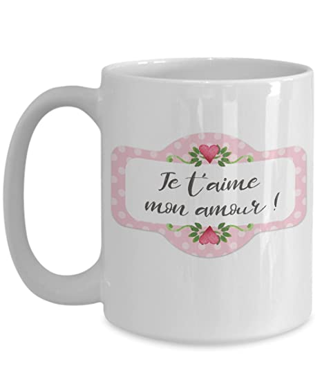 Amazoncom Amour French Mug Je Taime Tasse Coeur Kitchen