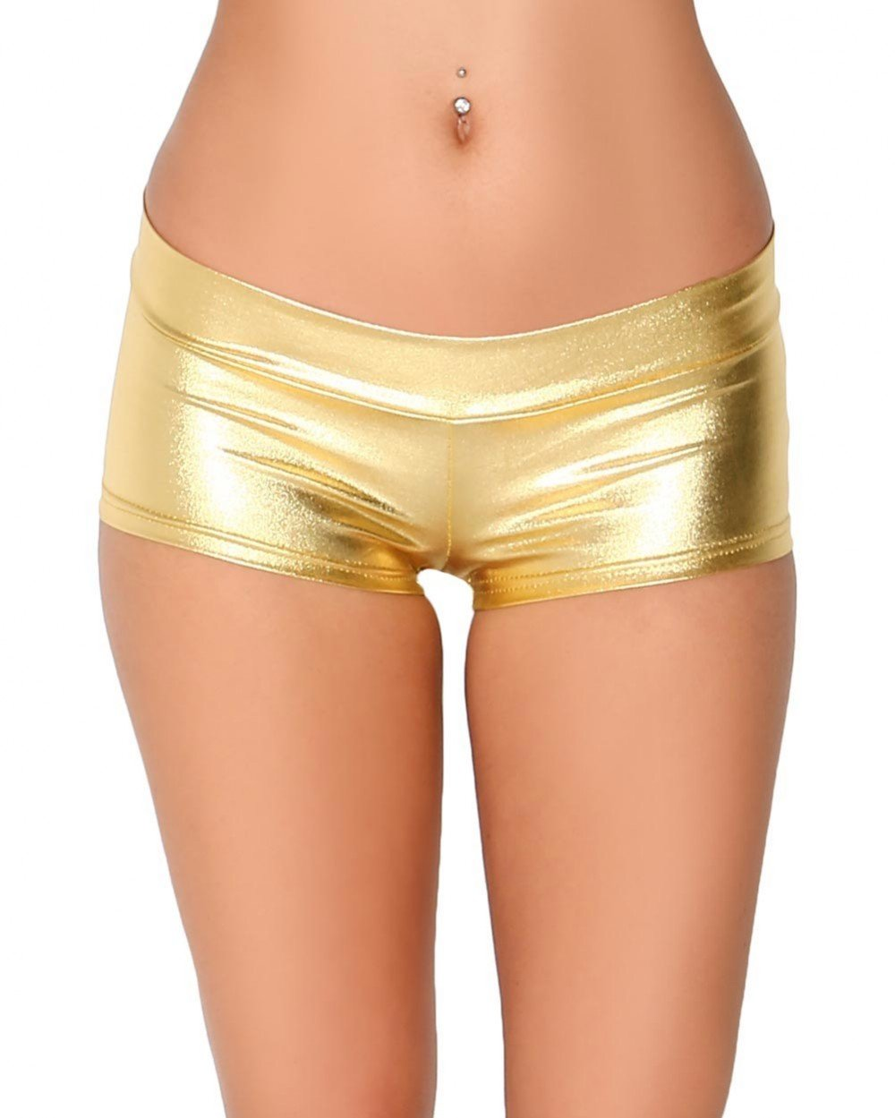 iHeartRaves Metallic Rave Booty Dance Shorts (Medium, Gold)