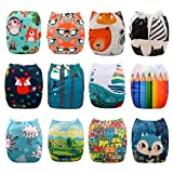 Babygoal Baby Cloth Diapers, One Size Adjustable Reusable Pocket Cloth Diaper Nappy 12pcs + 12pcs 4-Layers Antibacterial Bamboo Viscose Inserts 12FN07-2