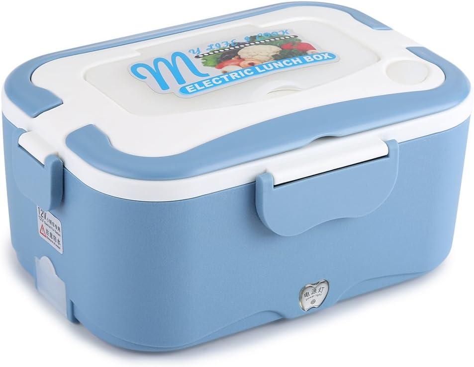 12V/24V Car Electric Heating Lunch Box,Lunch Crock Food Warmer 45W (12V Blue)