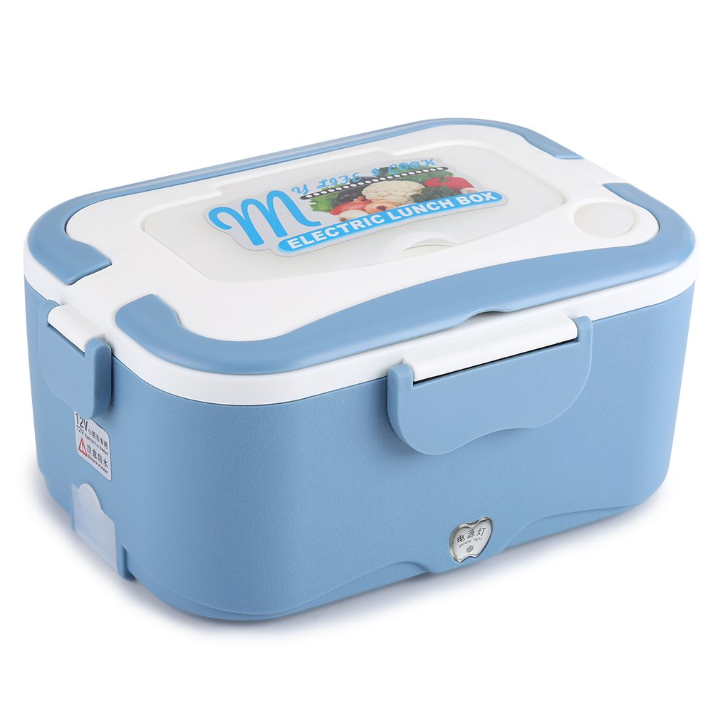 Fdit Electric Heated Lunch Box, Portable Car-Heated Mini Bento Warmer Box, Thermostatic Container Travelling Buffet 12vblue