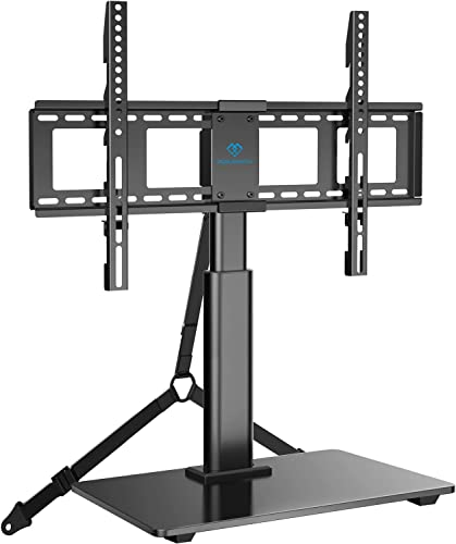 PERLESMITH Swivel TV Stand Universal Table Top TV Base for 32 to 65 inch LCD LED OLED 4K Flat Screen TVs – Height Adjustable TV Mount Stand with Safe TV Anti-tip Cable, VESA 600x400mm
