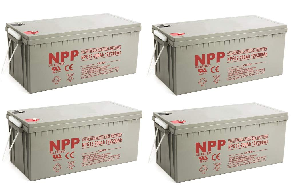 NPP NPG12-200Ah AGM Rechargeable Gel Deep Cycle 12V 200 Ah Battery with Button Style Terminals (4 Pack)