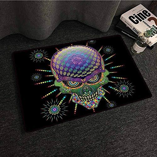DuckBaby Non-Slip Door mat Psychedelic Digital Mexican Sugar Skull Festive Ceremony Halloween Ornate Effects Design Anti-Fading W35 xL59 -