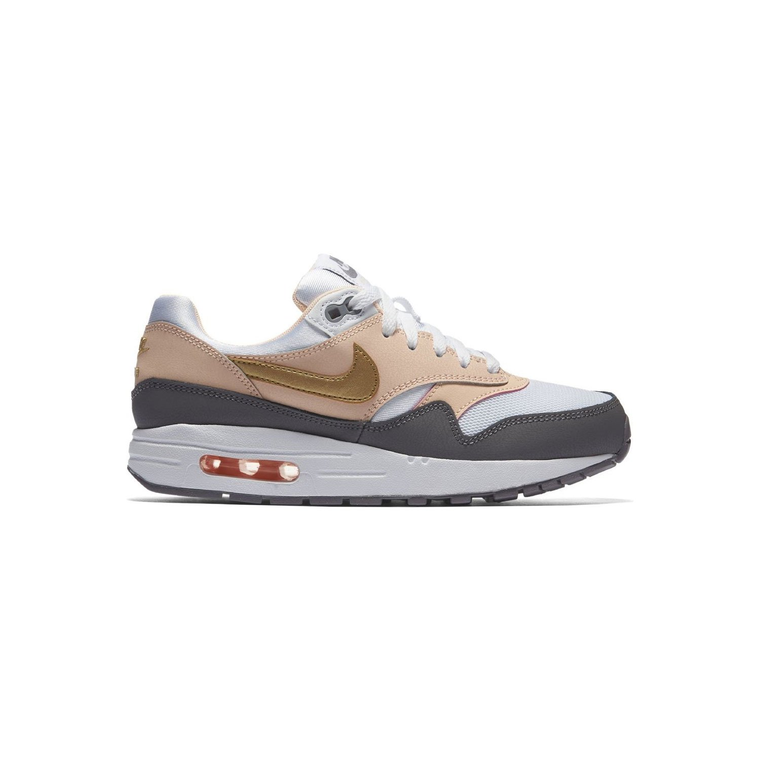 NIKE Kid's Air Max 1 GS WhiteMetallic Gold 807605 104 (Size