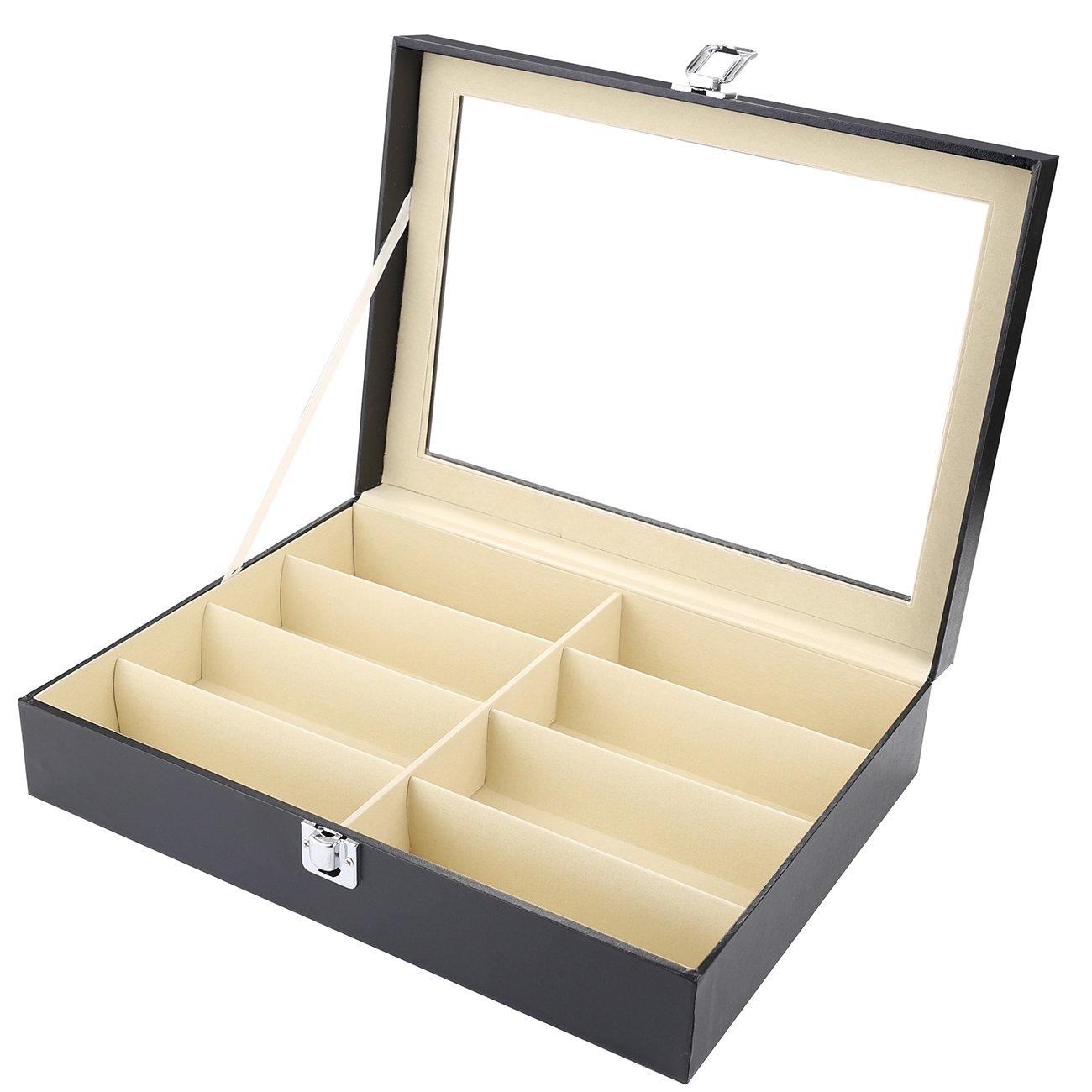 UYGHHK 8 Slot Eyeglass Sunglass Storage Box, PU Leather Glasses Display Case Eyewear Organizer Collector – 8 Compartments