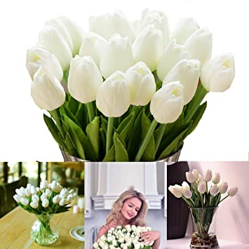 Longble Tulpe Kunstliche Blumen 12 Stuck Weiss Kunstliche Tulpen