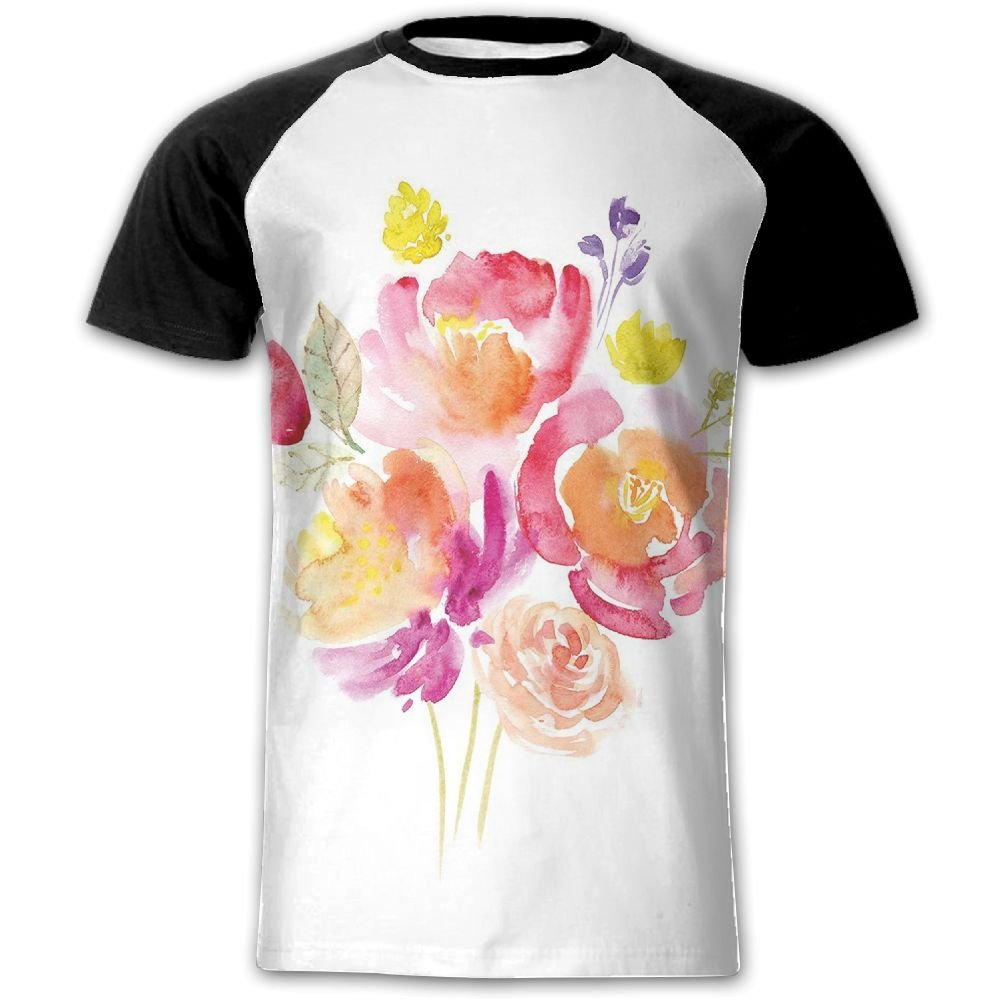 Newfood Ss Watercolor Bouquet of Roses Romantic Artistic Corsage Design Bridal Wedding Flora Men's Short Sleeve Raglan T XL