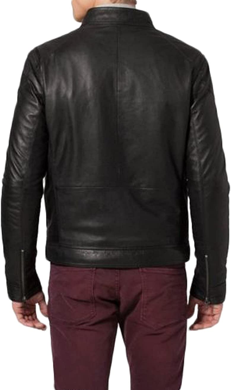 Men Leather Jacket New Soft Lambskin Slim Biker Bomber Coat T1385