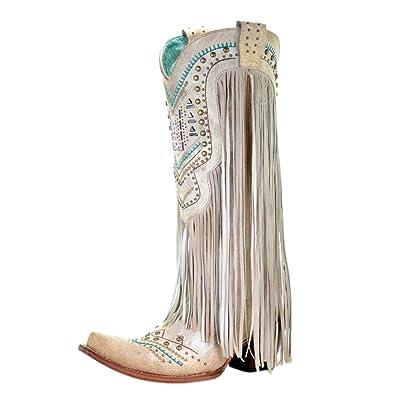 1de48e9c896 CORRAL C3424 Bone Swarovski Embroidered Fringe Boots